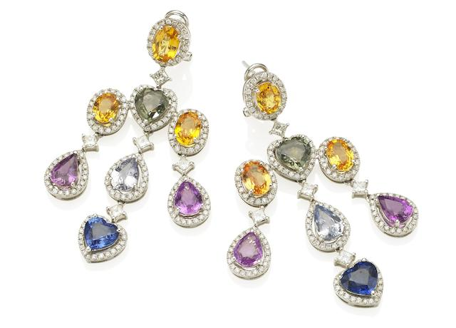 A pair of multi-coloured sapphire and diamond pendent earrings