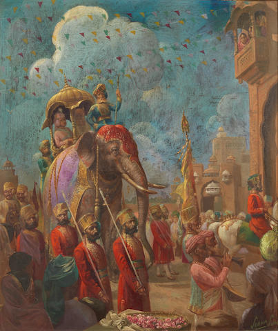 Sobha Singh (India, 1901-1986) Noblemen riding on a richly caparisoned elephant with attendants in procession through city streets