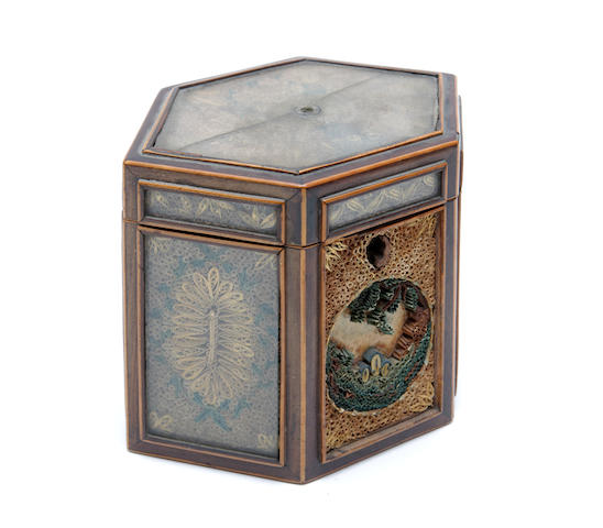 A late 18th century rolled paper hexagonal tea caddy