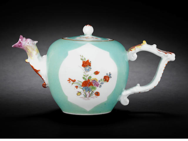 A Meissen sea-green-ground teapot and cover, circa 1730