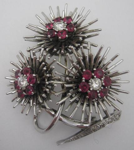A ruby and diamond brooch, 1970s