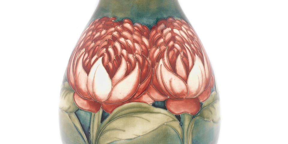 William Moorcroft  'Waratah' a Fine and Rare Vase, circa 1930