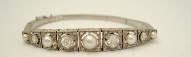 An early 20th century pearl and diamond bracelet