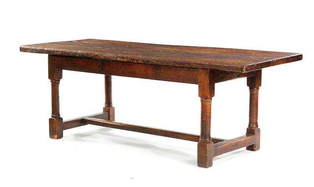 An oak two plank refectory table, 218cm long