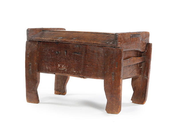 A rare 15th century small oak clamp-front ark