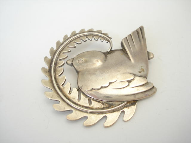 A silver brooch, by Georg Jensen