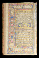 A richly illuminated Qur'an with each page exquisitely decorated with floral motifs in colours and gold, and once in the possession of Faridun Jah, Nawab Nazim of Bengal, Bihar and Orissa, and his descendants North India, Kashmir, circa AH 1275/AD 1858-59