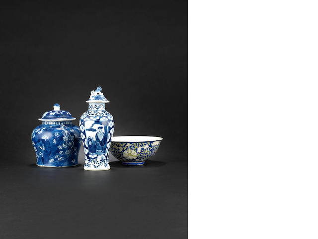 A blue-ground lotus bowl Guangxu six-character mark