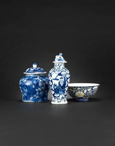 A blue-ground lotus bowl Guangxu six-character mark