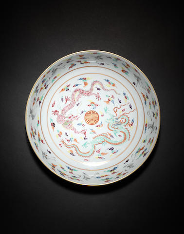 A famille rose dish Qianlong six-character seal mark