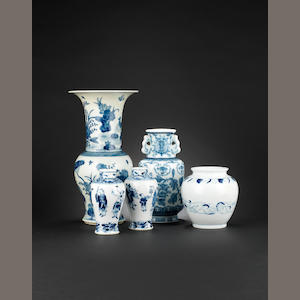 A blue and white yenyen vase Qianlong six-character mark