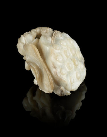 A jade carving of a lotus pod 17th or 18th century