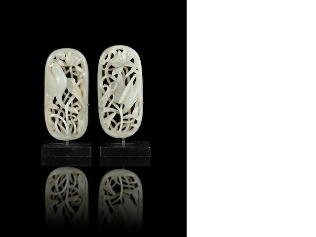 A pair of reticulated jade appliqué Yuan Dynasty