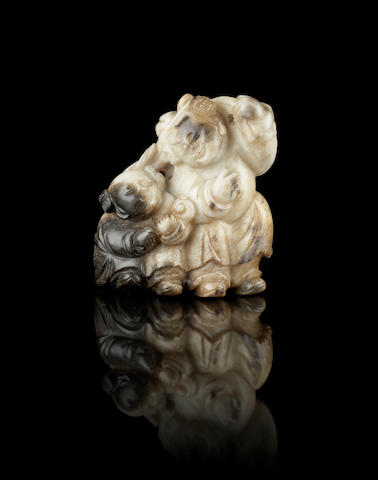 A mottled white and black jade carving of the Hehe Erxian Ming Dynasty