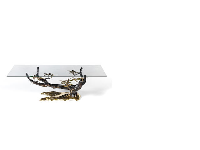 Jacques Duval-Brasseur  Tree Coffee Table circa 1975  gilded bronze??  42 by 140 by 70 cm. 16 9/16 by 55 1/8 by 27 9/16 in.
