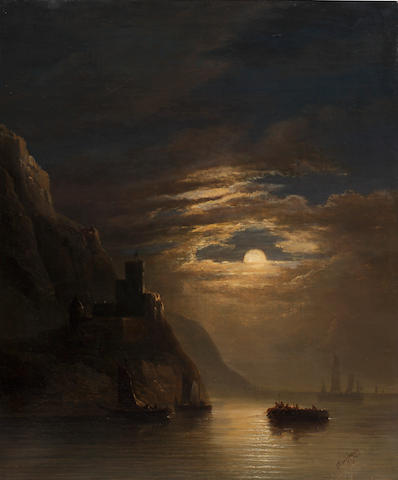 Louis Nicholas Chainbaux (French) Moonlit coastal scene with boats,