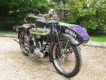 1924 Triumph 550cc SD Motorcycle & Sidecar Frame no. 338844 Engine no. 99808
