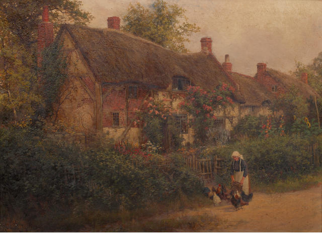Rubens Arthur Moore (British) Feeding the hens, before a thatched cottage