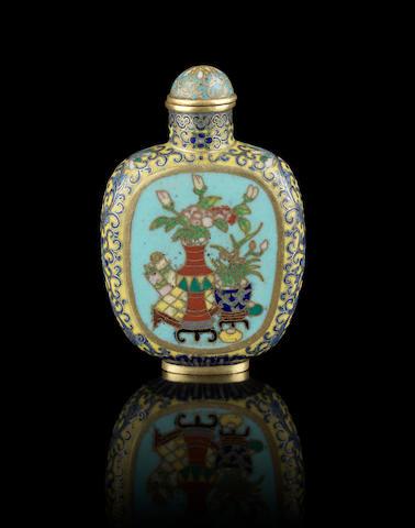 A cloisonné enamel snuff bottle Incised Qianlong four-character mark