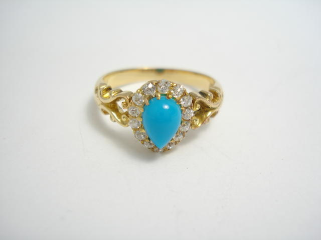 An early 20th century turquoise and diamond cluster ring