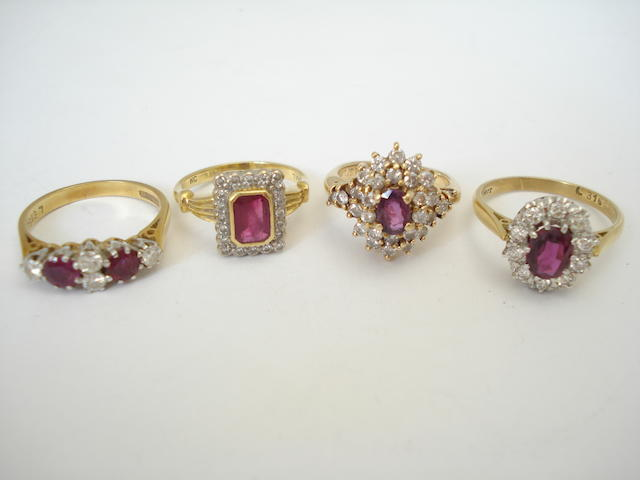 A collection of ruby and diamond rings