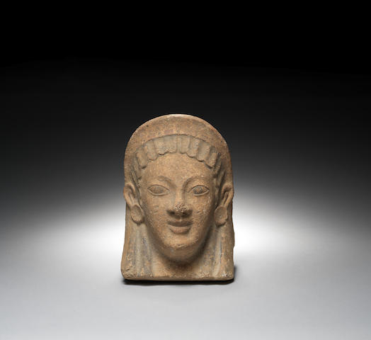 A large Etruscan terracotta antefix
