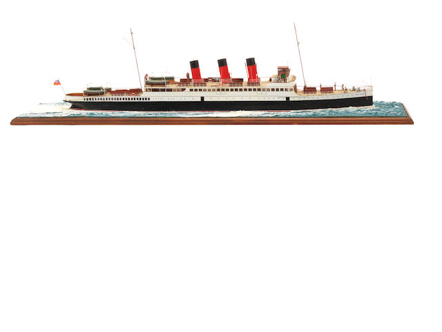 A waterline model of the Passenger ferry  SS Saint Columba 1912 36.5x8.5x11ins. (93x22x28cm)