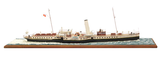 A waterline model of the Passenger ferry PS Glen Usk 1914 37x10x11ins. (94x25x28cm)