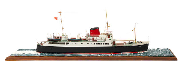 A waterline model of the Passenger ferry MV Claymore 1955  28.5x8x10ins. (73x20x25cm)