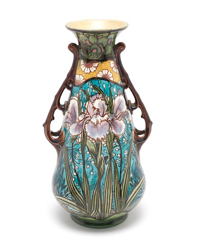 Minton a 'Secessionist' Twin Handled Vases with Irises, circa 1900