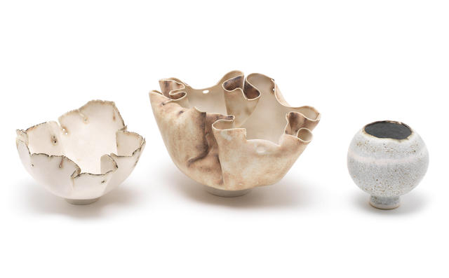 Mary Rogers Three porcelain Vases, circa 1980