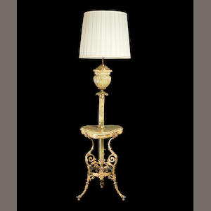 A 20th century onyx and gilt metal mounted standard lamp