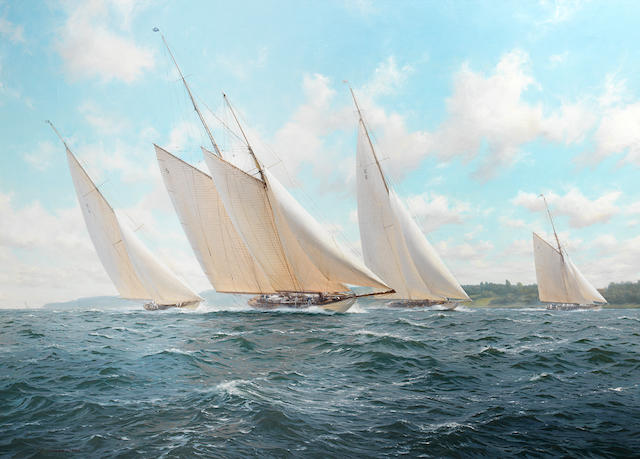 John Steven Dews (British, born 1949) Westward leading the pack off the Isle of Wight, west of Cowes, with Cambria, Candida and White Heather (II) all snapping at her heels