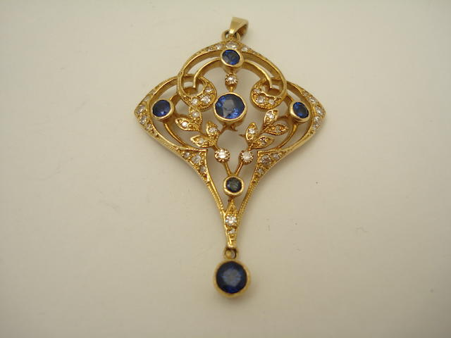 A Belle Époque style sapphire and diamond pendant