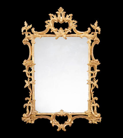 A Victorian carved giltwood mirror in the mid 18th century style