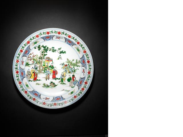 A large polychrome enamel dish Kangxi six-character mark