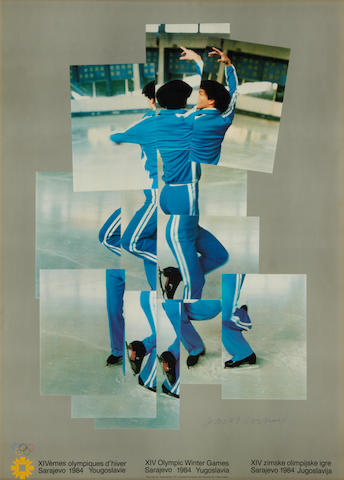 David Hockney R.A. (British, born 1937) XIV Olympic Winter Games, Sarajevo Lithographic poster printed in colours, 1984, on thick wove, signed in blue ink, published by the Petersburg Press, London, the full sheet, 840 x 610mm (33 x 24in)(I)
