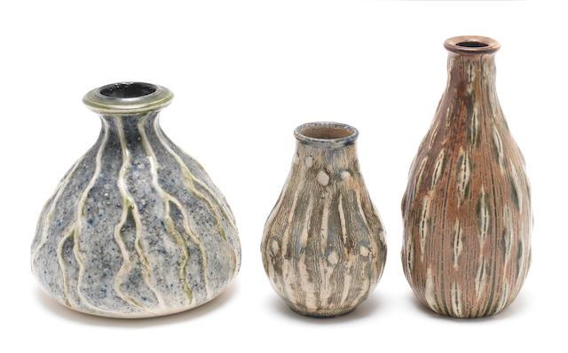 Martin Brothers Three Stoneware Gourd Vases, circa 1902