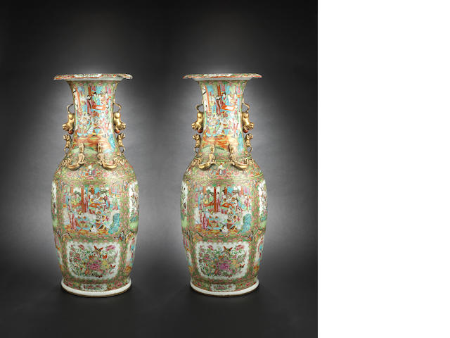 A pair of large, Canton famille rose vases 19th century
