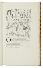 Eric Gill (British, 1882-1940) The Canterbury Tales, 4 vol. NUMBER 94 OF 485 COPIES, printed in red, blue and black, numerous wood-engraved illustrations and decorations by Eric Gill, publisher's quarter morocco by Sangorski & Sutcliffe, t.e.g. [Chanticleer 63], folio, Golden Cockerel Press, 1929-1931