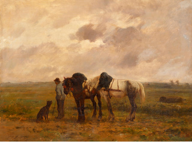 Ferdinand Bonheur (French, 1817-1887) The ploughing team returning home