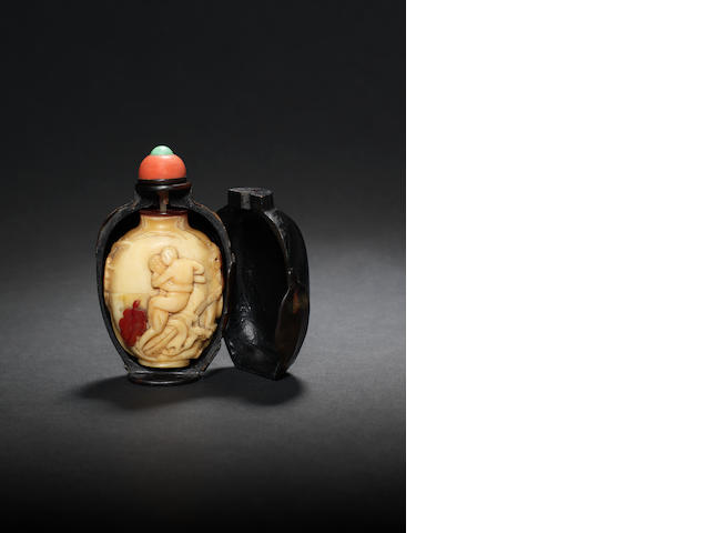 A very rare erotic hornbill snuff bottle in a lacquered case Qianlong, dated by inscription to AD1752 and of the period