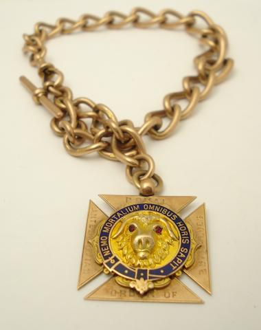 An Albert watchchain with Royal Antediluvian Order of Buffaloes medal