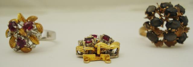 A ruby and diamond clasp and ring and a star sapphire ring (3)