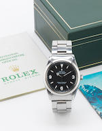 Rolex. A stainless steel automatic centre seconds bracelet watch with box and papers Explorer, Ref:1016, Case No.4401***, Movement No.488***, Circa 1975