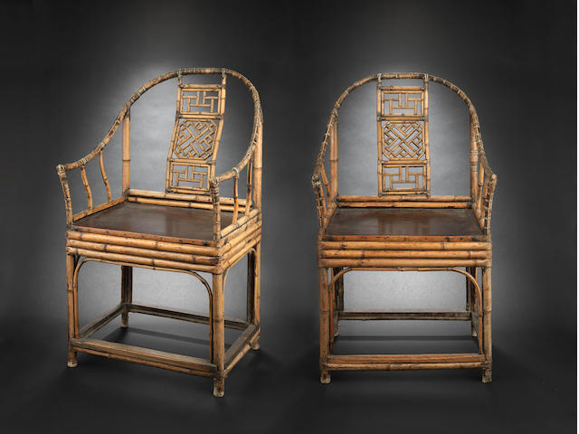 A pair of bamboo, or other wood, horseshoe backed chairs Qing Dynasty or later
