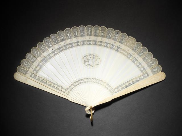 An elegant Cantonese ivory, twenty-six stick fan Qing Dynasty