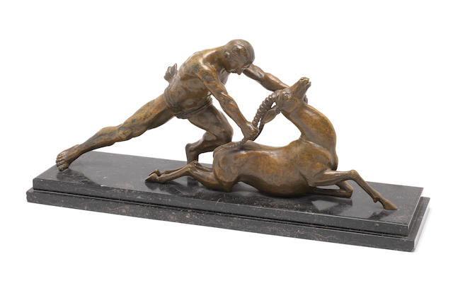 1 bronze - Gantcheff - Man with gazelle - subject to inspection