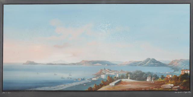 Neapolitan School, late 19th Century 'Golfo di Baja'; 'Castellamare ...Monte Coppola'; 'Panorama di Sorrento' and an untitled Neapolitan coastal scene, One framed and three unframed