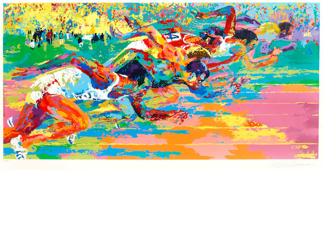 LeRoy Neiman (American, born 1921) Olympic Track signed and numbered 280/300 screenprint, circa 1970 63.5 x 113cm (25 x 44 1/2in).
